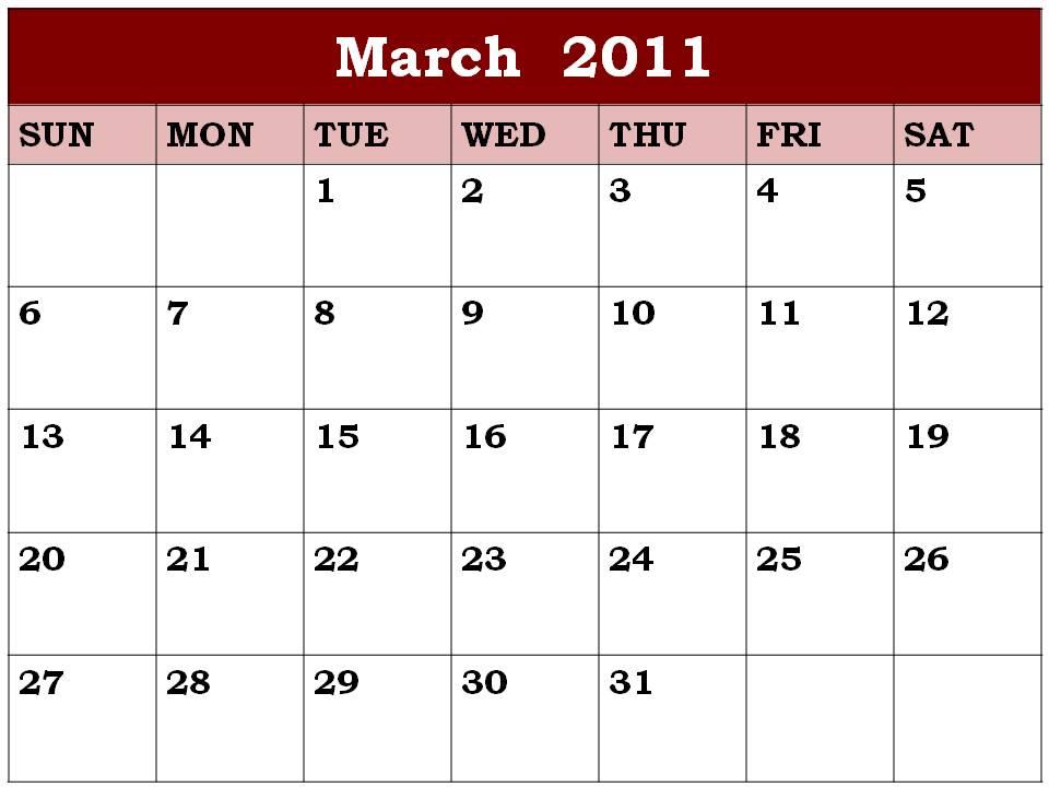 blank calendar march 2011. Empty+calendar+march+2011