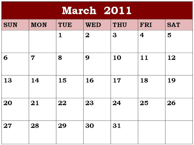 blank march calendar. Monthly calendar template in