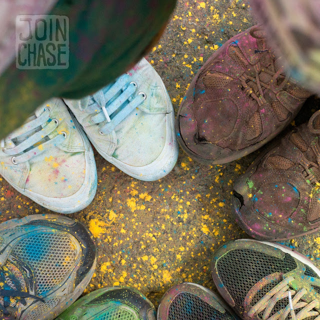 Shoes covered in colored powder after the Color Me Rad 5K in Seoul, South Korea.