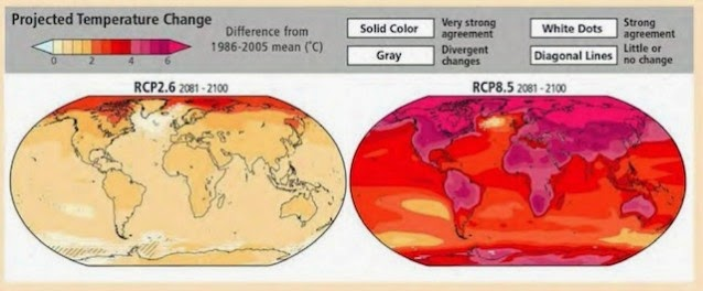 Humanity's choice (via IPCC): Aggressive climate action ASAP (left figure) minimizes future warming.  Continued inaction (right figure) results in catastrophic levels of warming, 9°F over much of U.S. The  2014 IPCC report finds the annual cost of avoiding that catastrophe is cheap, a mere 0.06% of annual  growth (the range is 0.4% to 0.14%). (Credit: IPCC) Click to Enlarge.