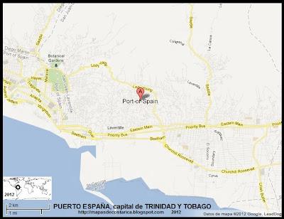 TRINIDAD Y TOBAGO, Mapa de PUERTO ESPAÑA, capital de TRINIDAD Y TOBAGO