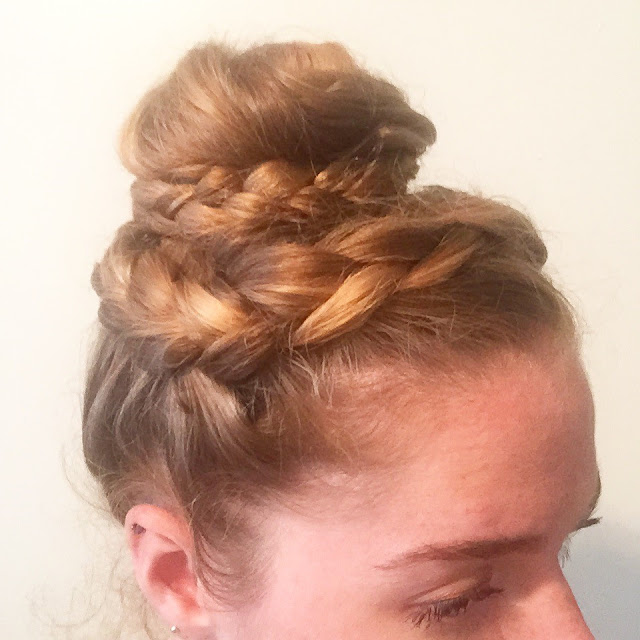 Crown French braid top knot
