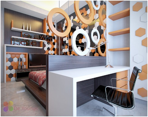 Office in a bedroom. Desk in your dormitory