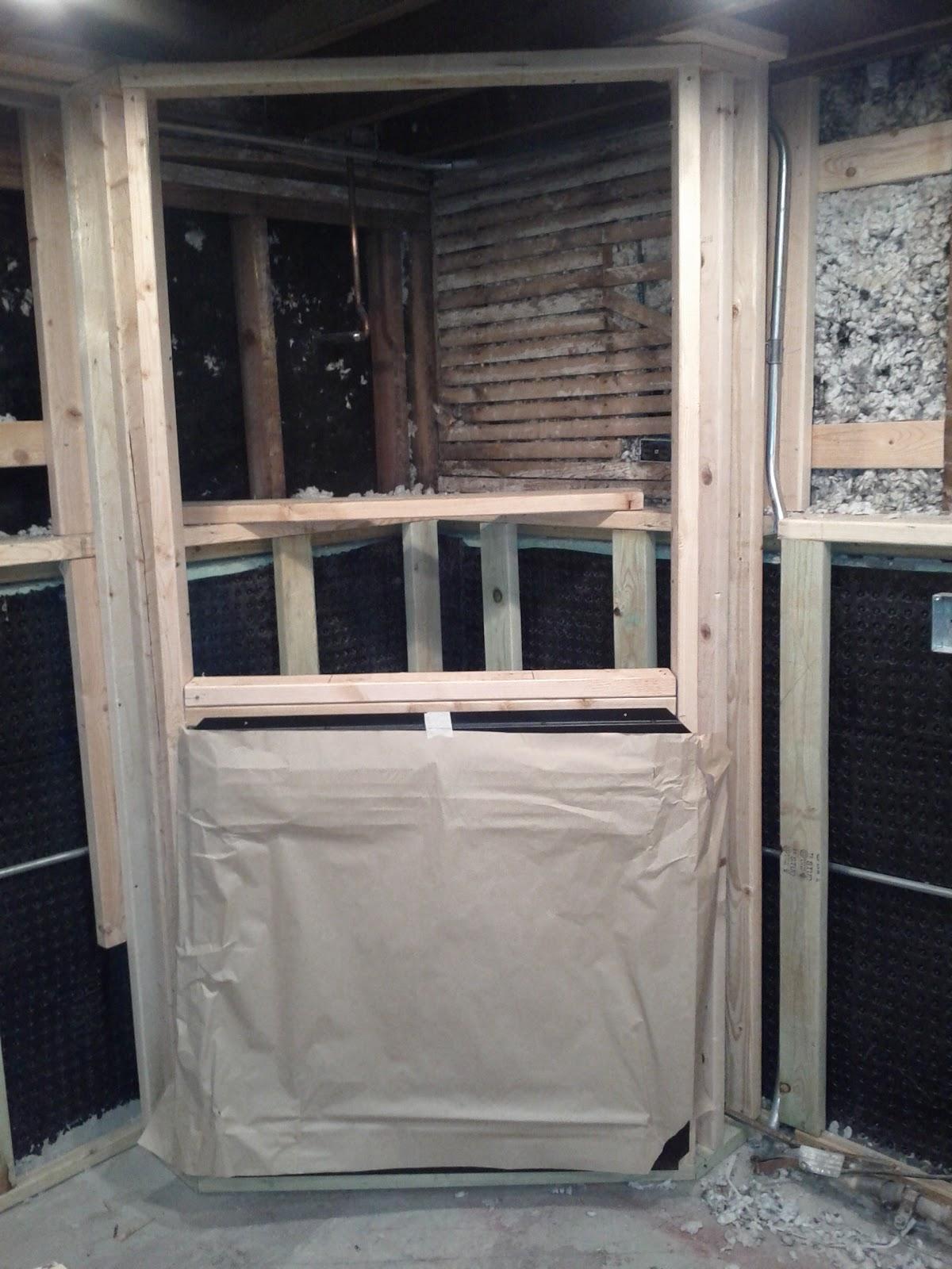 Basement Fireplace Framed In