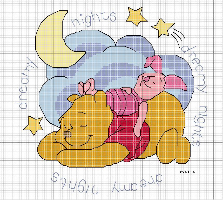 Magliamagia schemi punto croce nascita for Punto croce disney winnie the pooh