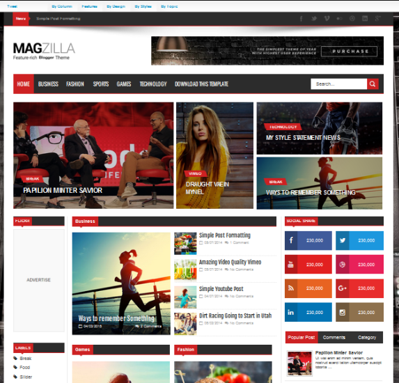 Mag Zilla, template blog