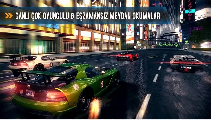 Asphalt 8 1.3.0l Hileli Apk + Data Türkçe Full indir