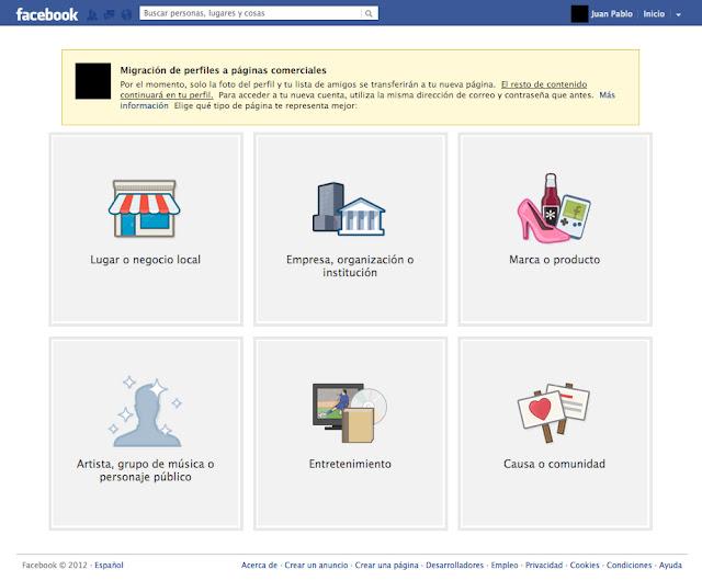 Interfaz migración de perfiles a páginas comerciales