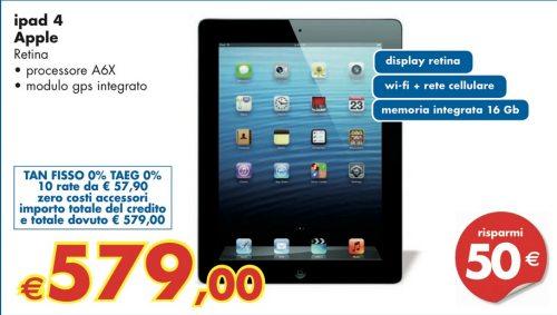 Se volete un iPad 4 scontato di 50 euro e acquistabile in 10 comode rate senza interessi dal 18 al 21 aprile recatevi nei negozi Panorama