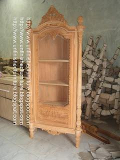 Furniture klasik almari hias klasik ukir mawar almari hias sudut klasik supplier almari hias ukir jepara almari hias klasik unfinished mentah