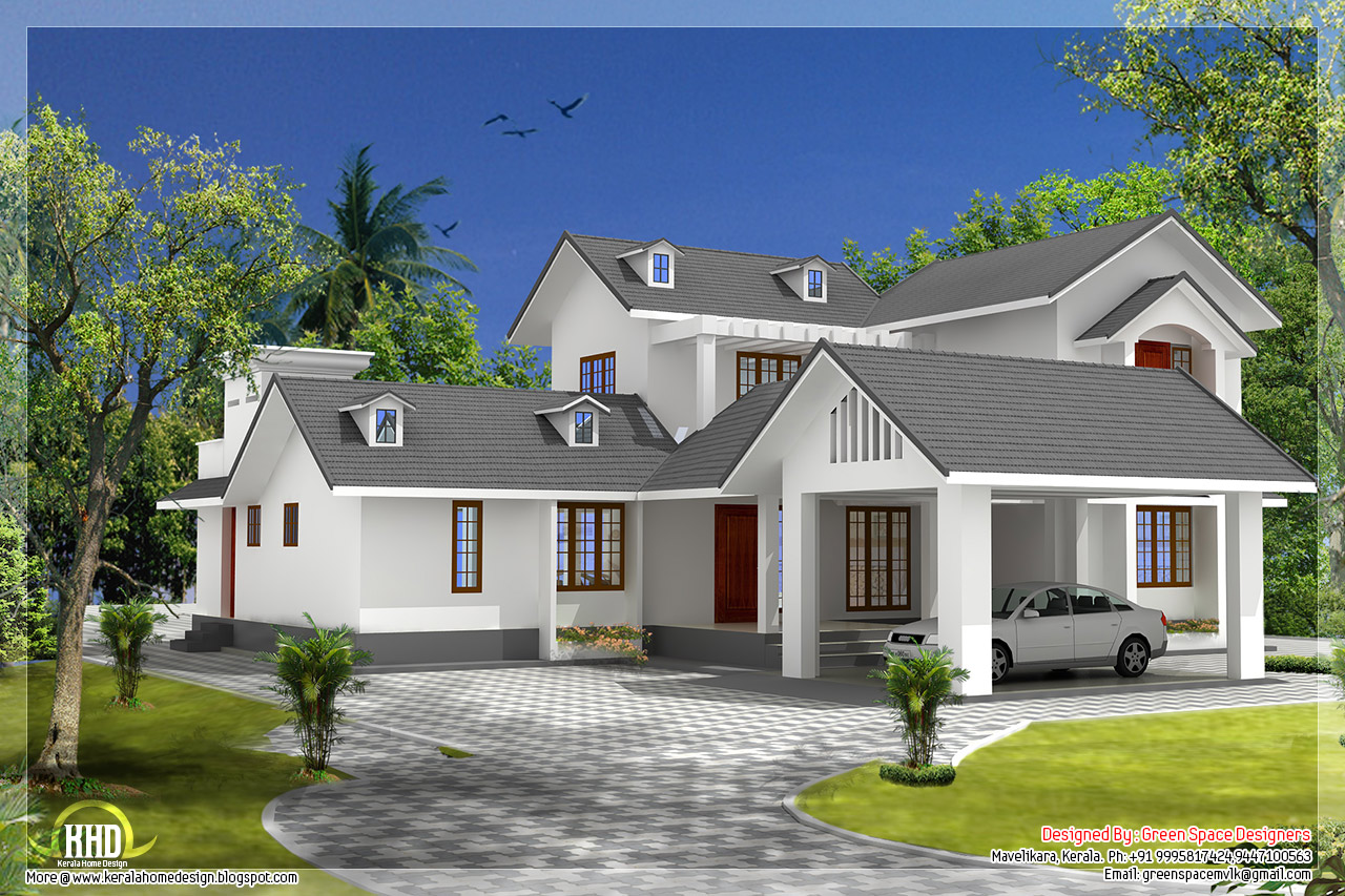 5 bedroom house with gable roof type design - Kerala home design ...