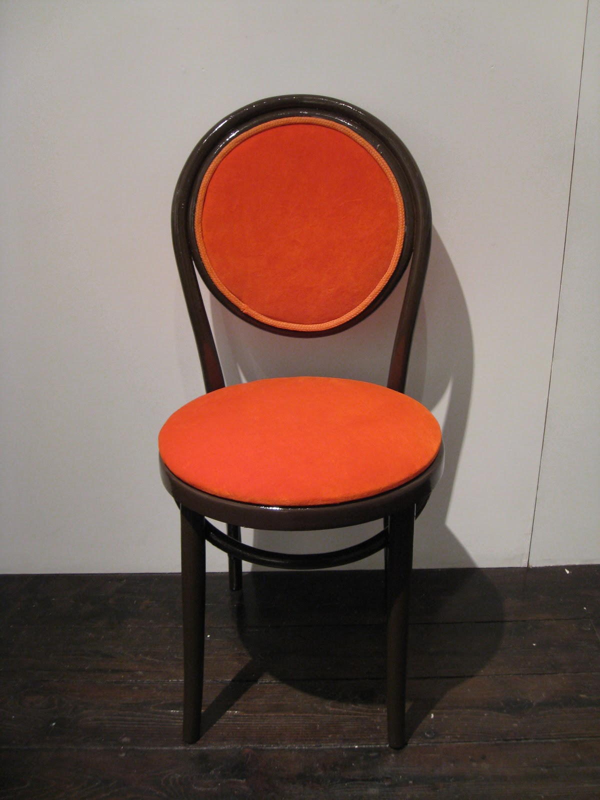 1970 S Thonet Dining Chair In Orange Velvet And Chocolate Brown Lacquer I Used Some Nylon Rope From Pembrey Beach For The Braid The Colour Reminded Me Of