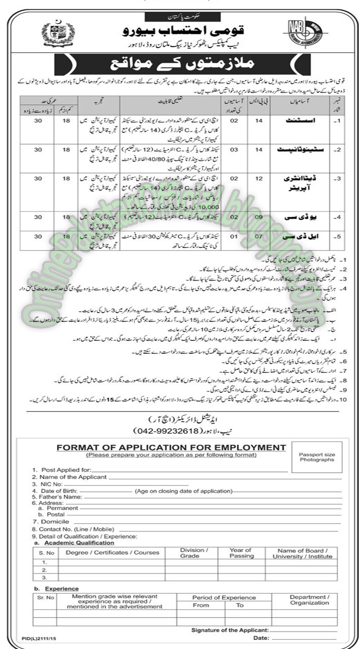 National Accountability Bureau jobs in Multan
