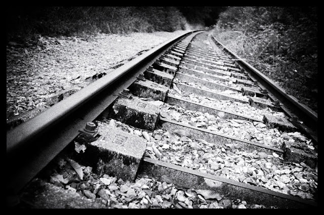 railroad in black and white