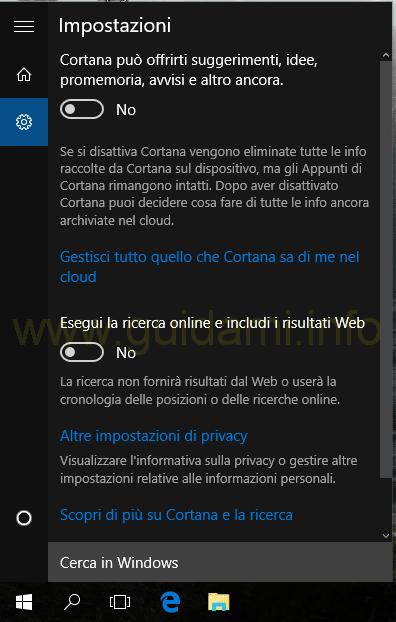 Cortana e Ricerca Windows 10