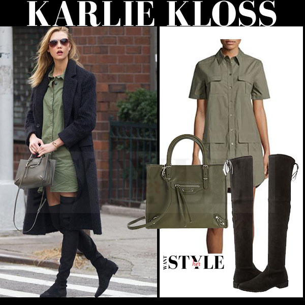 Karlie Kloss in khaki shirt equipment remy dress and black suede over the knee stuart weitzman lowland boots what she wore model style