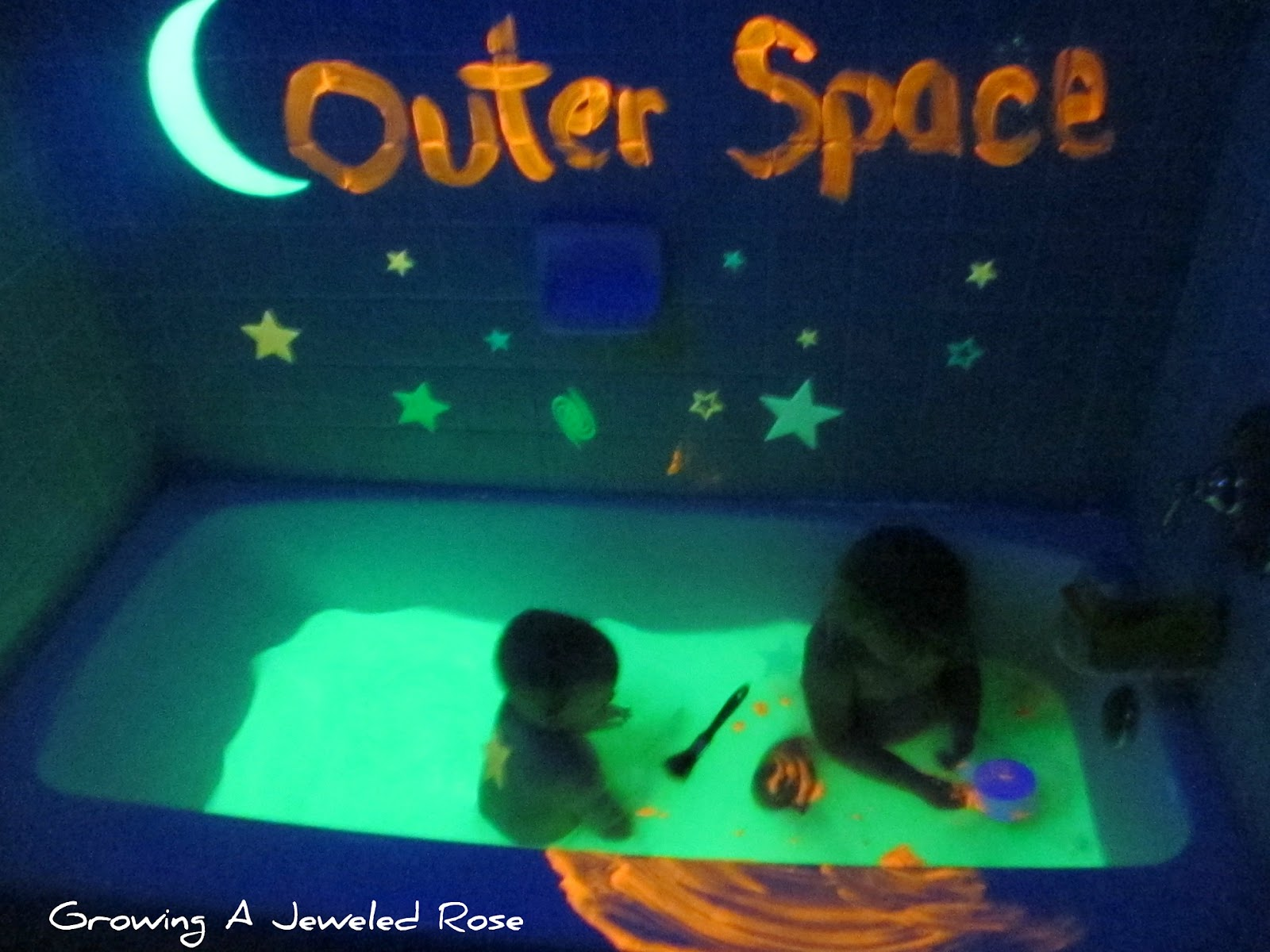 Outer space themed bath growing a jeweled rose for Outer space theme