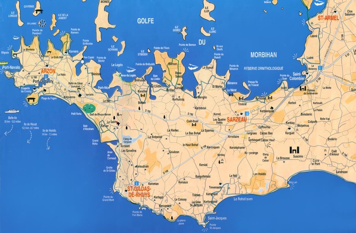 La Presqu'île de Rhuys et le Golfe du Morbihan: Carte de la Presqu'île