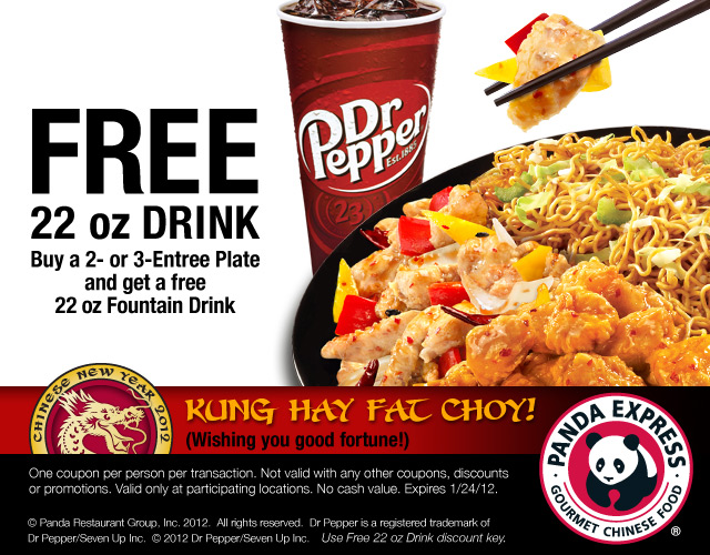 free drink with meal - Panda Express Chinese New Year