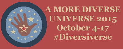 Banner reading A More Diverse Universe 2015, October 4-17, #Diversiverse. The banner's background is a muted red, while an icon of a brown hand with a star on its palm appears beside the title.