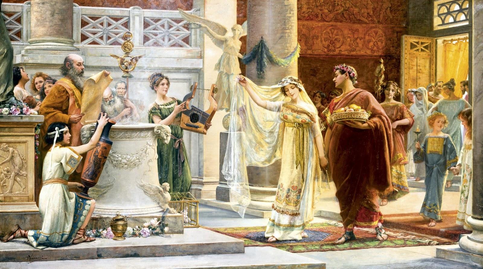 Lienzo de Emilio Vasarri  que  muestra de un modo idealizado una ceremonia de matrimonio romana.