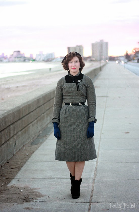 Black and white wool and velvet 1950s or 1960s dress styled for winter