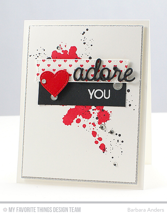 Adore You Card by Barbara Anders featuring the Distressed Patterns and Laina Lamb Design Friend Request stamp sets, Mini Hearts Background stamp, and the Blueprints 20, Love & Adore You, and Stitched Heart STAX Die-namics #mftstamps