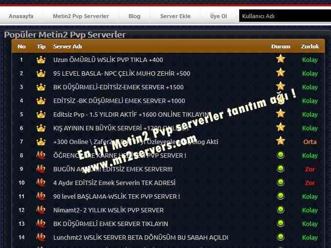 Pvp serverler tanıtım ağları:www.mt2servers.com