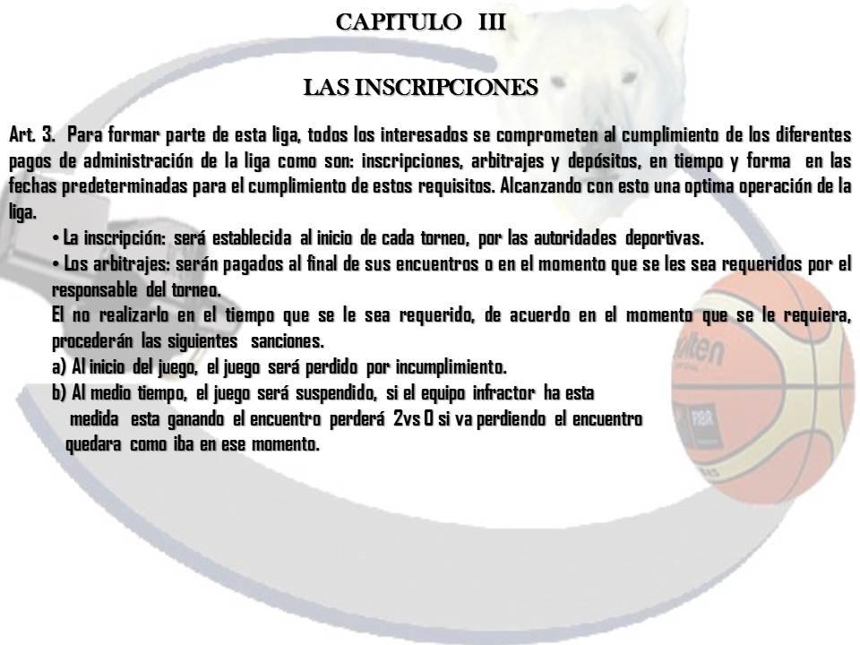 LIGA DE BASQUETBOL DEPORTIVO 18 DE MARZO: Reglamento interno