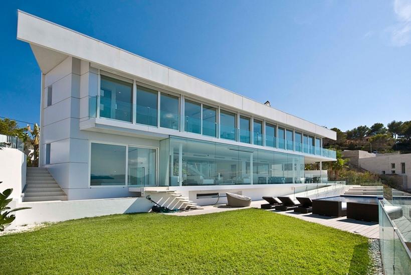Facade of modern Mallorcan villa