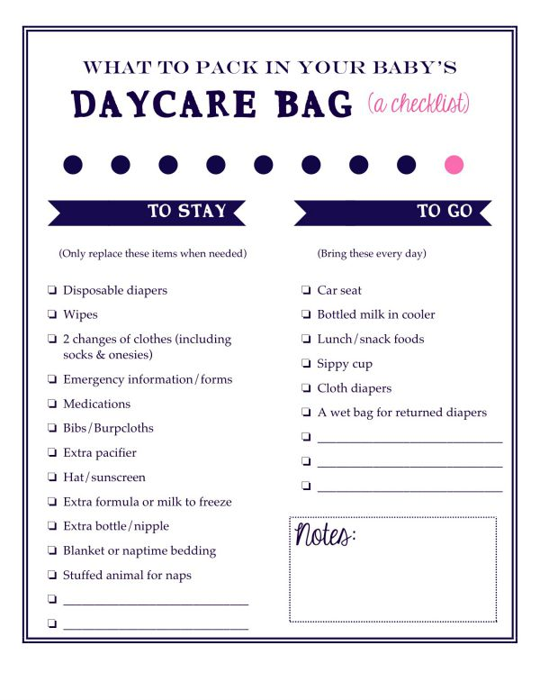 Laura's Plans: What to pack in your baby's daycare bag: A ...