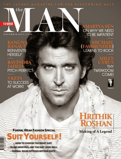 Hrithik Roshan on the cover of The Man magazine - Nov 2013