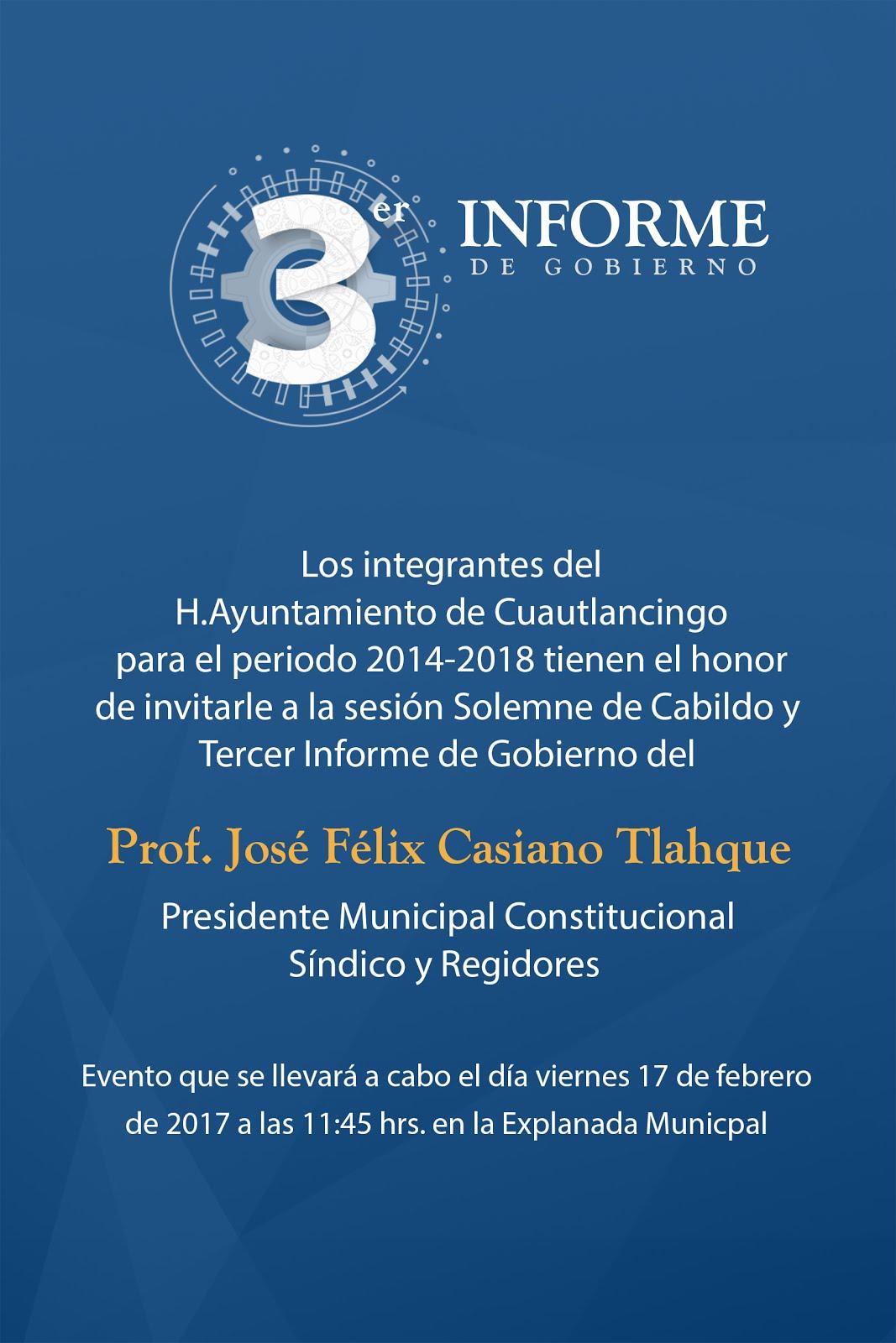Félix Casiano Tlahque rinde su Tercer Informe de Gobierno