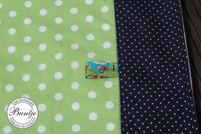 Krabbeldecke Kuscheldecke Einschlagdecke Decke Baby Geschenk Baumwolle Fleece handmade nähen Name Junge blau dunkelblau grün Eulen Webband Buntje