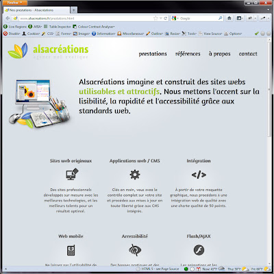 Screen shot of http://www.alsacreations.fr/prestations.html.