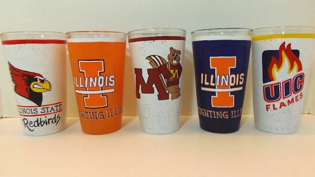 hand painted college themed drinking glasses