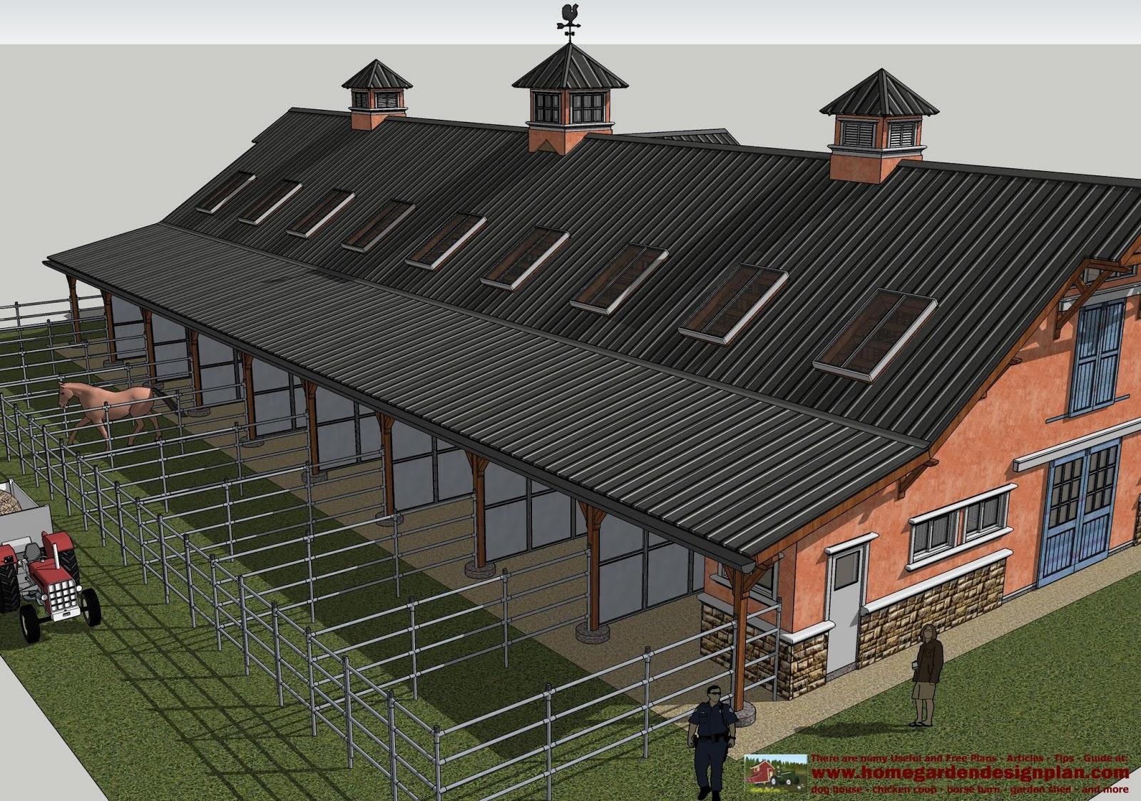 home garden plans hb100 horse barn plans horse barn design