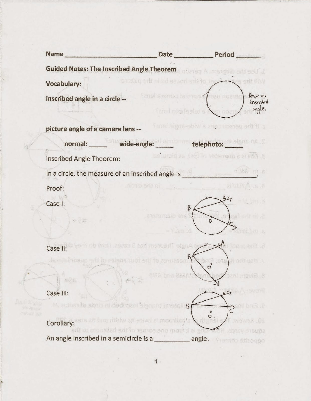 worksheet Inscribed Angle Worksheet geometry common core style section 15 3 the inscribed angle i briefly mention this on my worksheet but a full consideration of camera angles doesnt occur until next text
