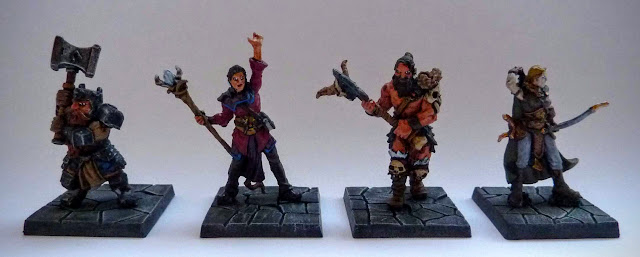 Dungeon Saga: Dwarf Kings Quest painted heroes: Rordin, Orlaf, Madriga and Danor.