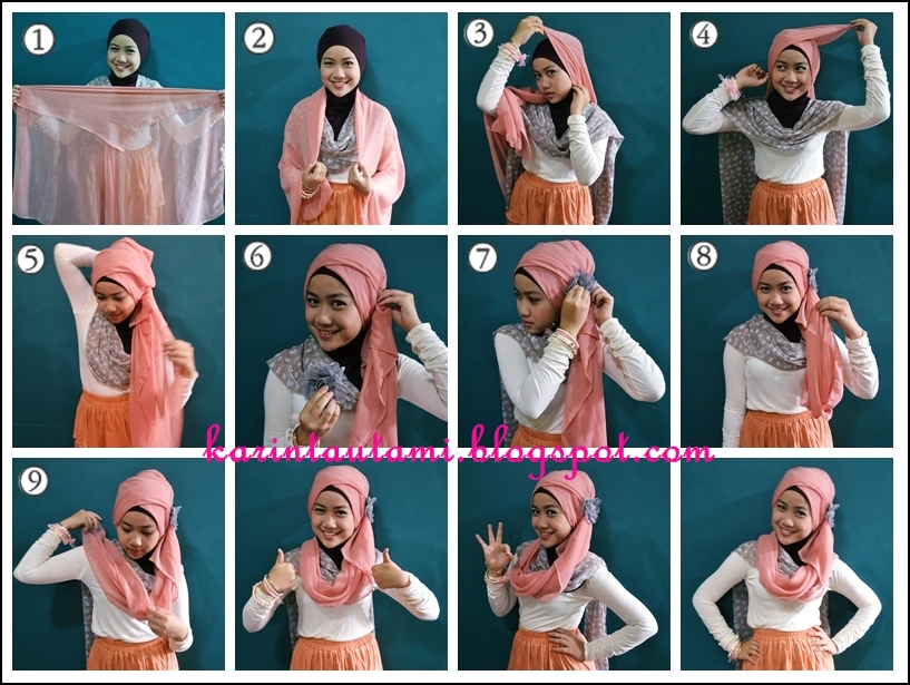 tutorial hijab untuk jilbab segi empat atau model-model jilbab paris