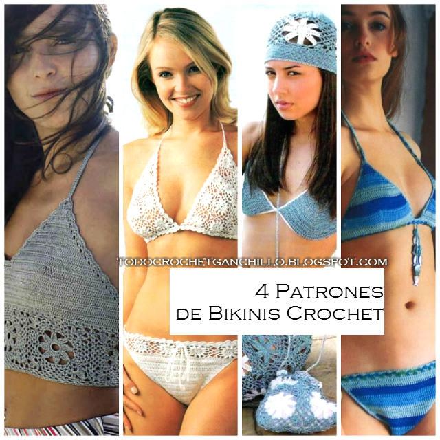 Patrones de Bikinis para tejer al crochet / 4 modelos | Todo crochet