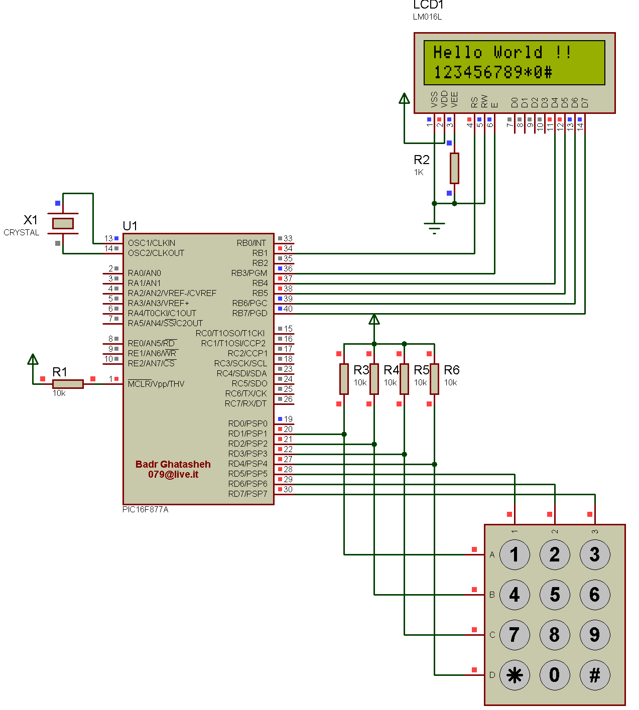 Pic16f877a Interfacing A Keypad And An Lcd Eproject Electronic Code Locking System Using Pic 16f877 Mircocontroller The Schematic
