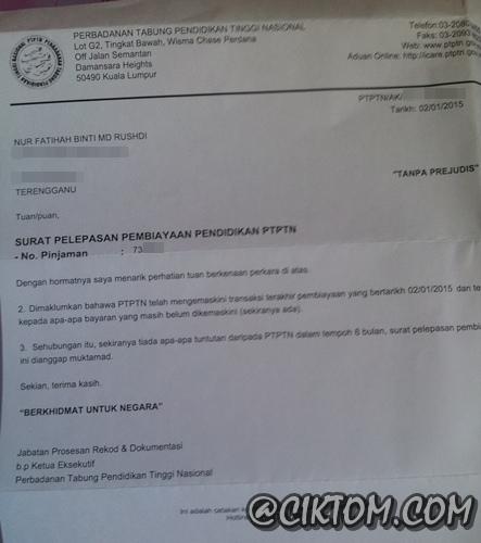Surat Pelepasan Pembiayaan Pendidikan PTPTN