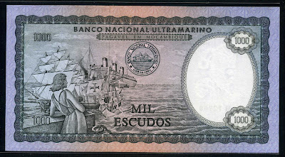 Banco Nacional Ultramarino Mozambique currency 1000 Escudos banknote