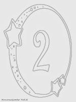 Mewarnai angka 2 bergaya bulan dan bintang