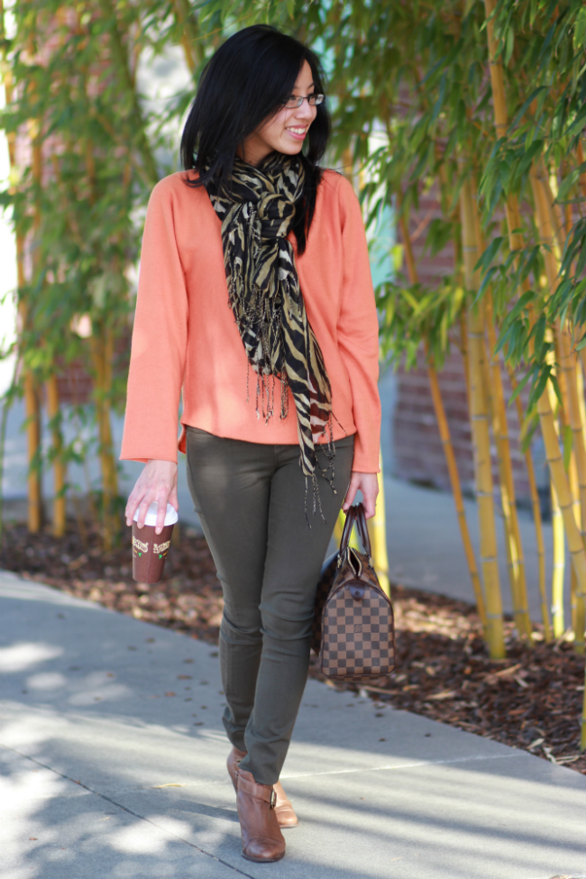 winter oversized colored sweater orange vince top