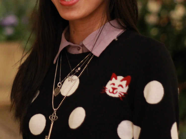 Tiffany key necklace heart pendant French Connection polka dot sweater layered over button up