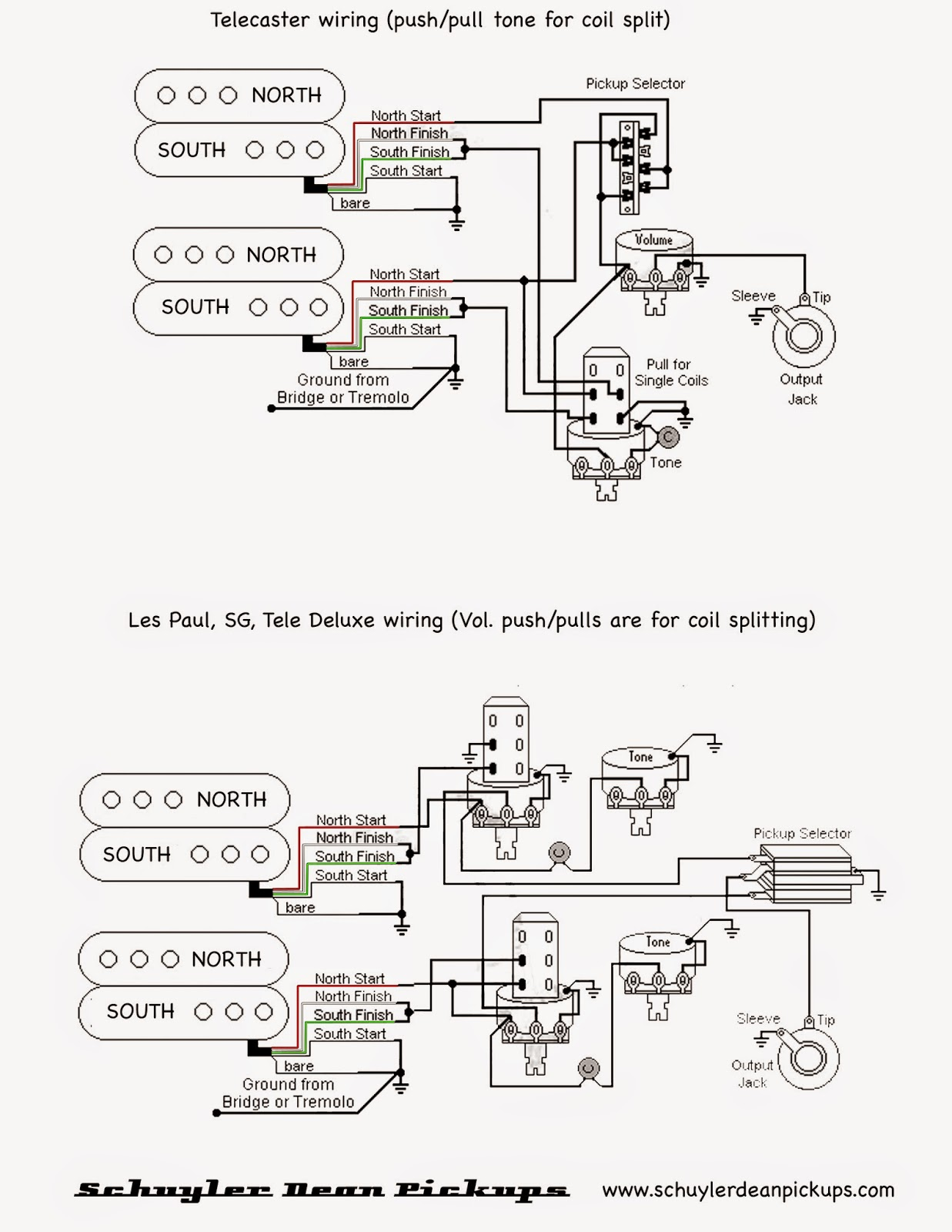 Wiring%2Bdiagram%2BTele LP schuyler dean pickups 2014 2 single coil pickup wiring diagram at alyssarenee.co