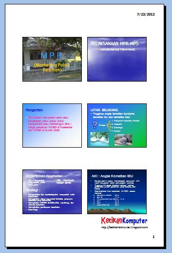 mengatur beberapa slide pada satu halaman kertas