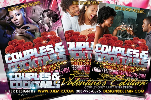 Couples and Cocktails Special Valentine's Day Flyer Design